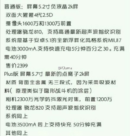 К второму полугодию Xiaomi готовит новые флагманы Mi5 и Mi5 Plus