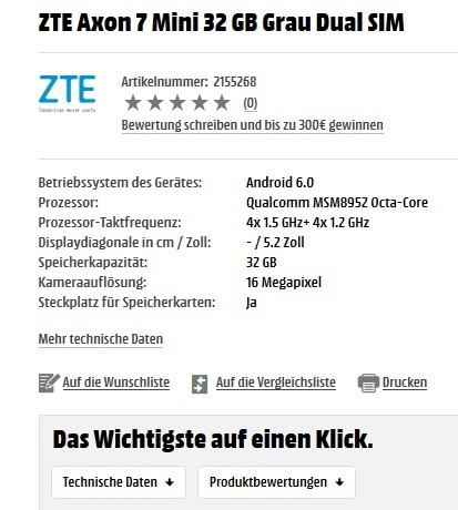 ZTE Axon 7 Mini: скоро в продаже